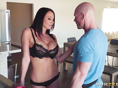 hairless guy banging Reagan Foxx's wet pussy after fingering
