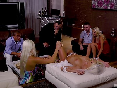 Bride Blanche Bradburry and her bridesmaids in an orgy