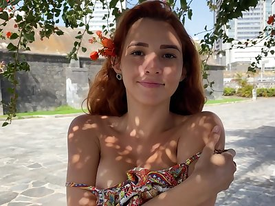 Young sculpt Agatha shows perky tits with yummy pierced nipples