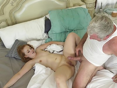 Old guy shows ginger floozy the real hardcore sensations