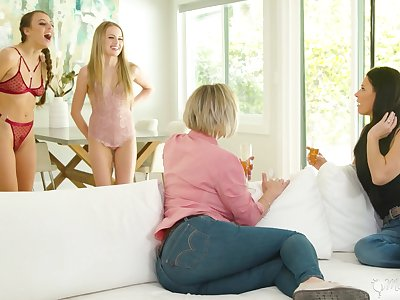 Stepmoms vs stepdaughters forth the hottest lesbian orgy ever